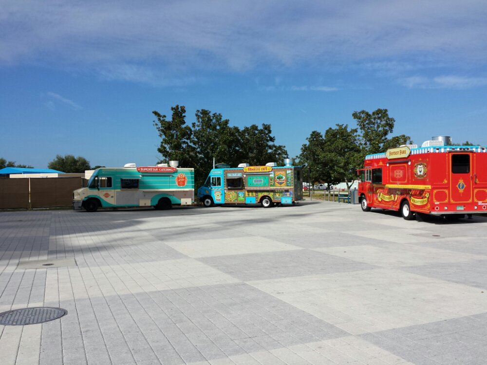 There are food trucks down at the far end of the West Side, nothing open this afternoon