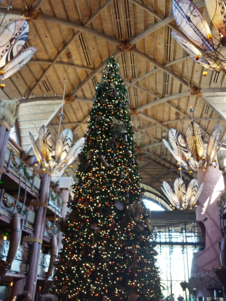 The Christmas tree in the Animal Kingdom Lodge lobby