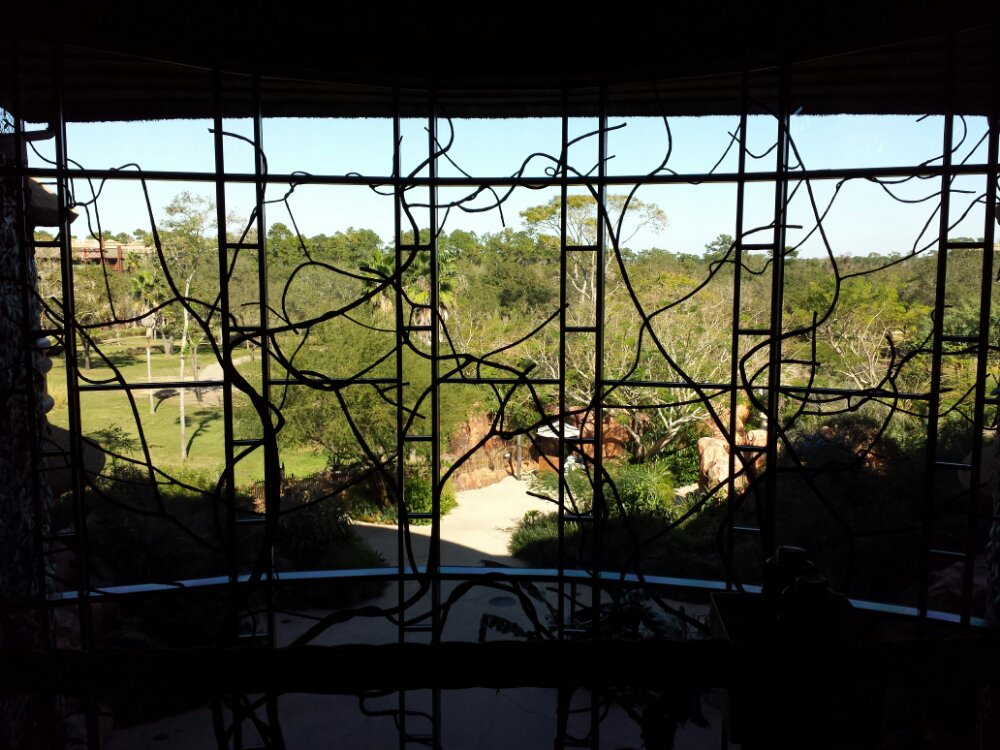 Looking out the Animal Kingdom Lodge Lobby window