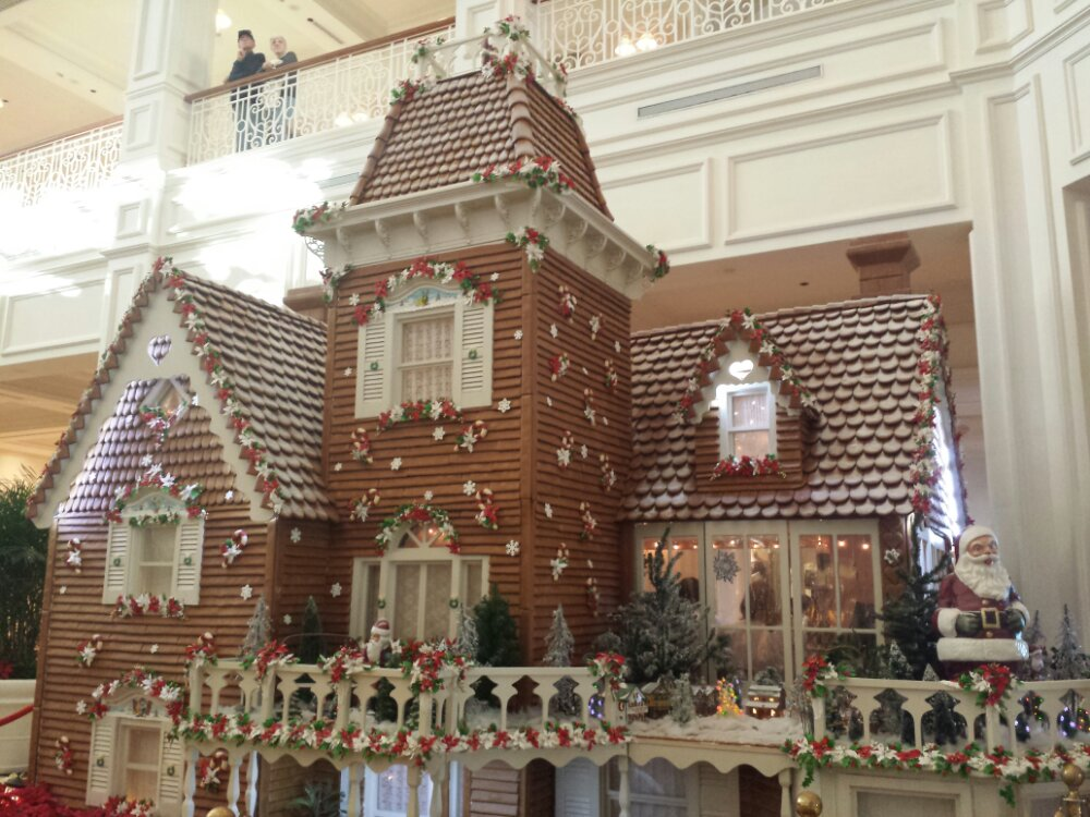The gingerbread house from ground level