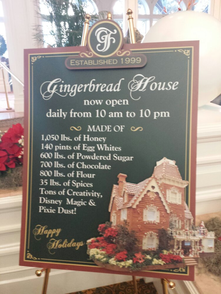 Some stats on the gingerbread house in the Grand Floridian lobby