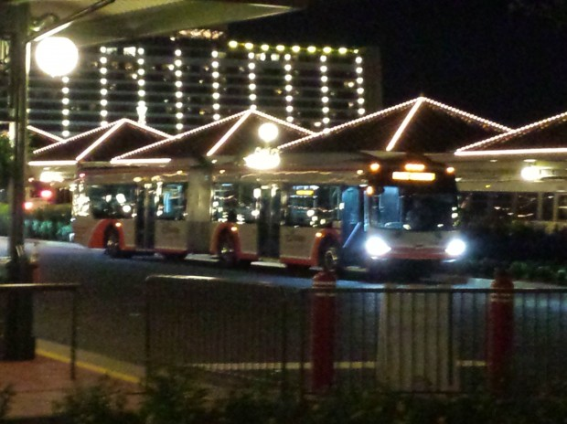 At the new Magic Kingdom bus stop saw several of the larger articulated buses serving Pop Century and Art of Animation stops.