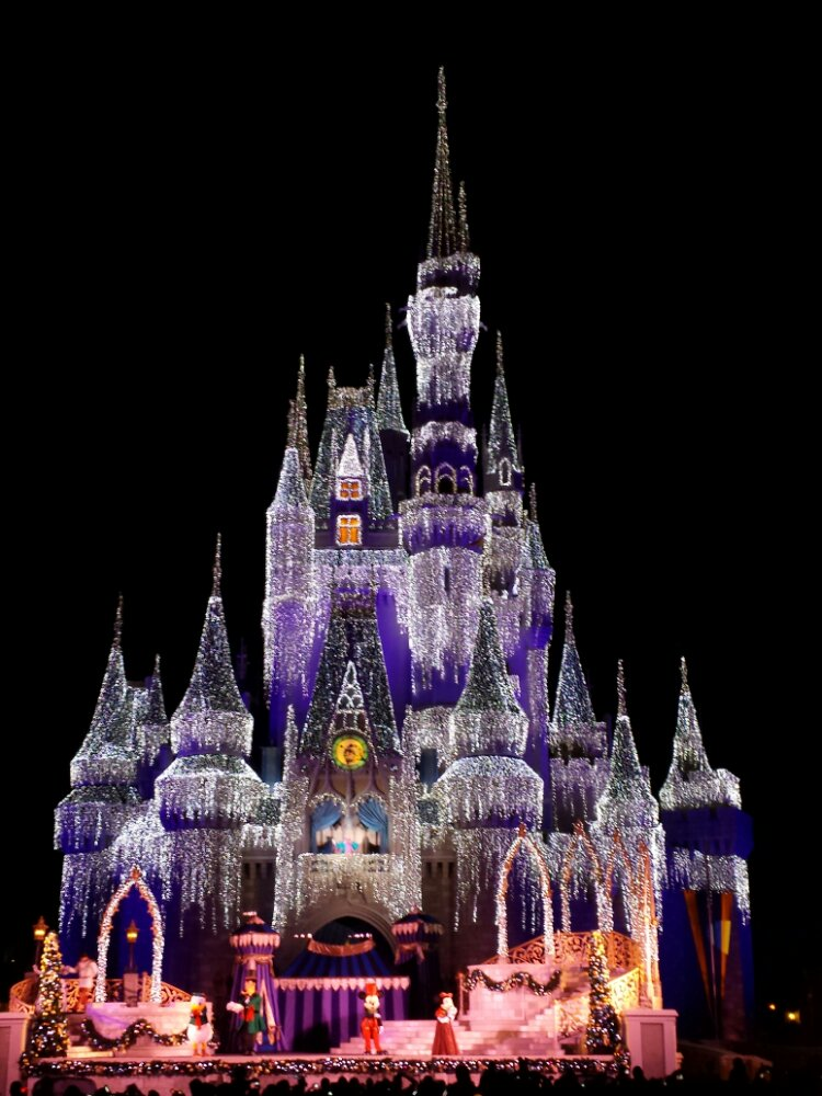 Cinderella Castle with lit up for the evening