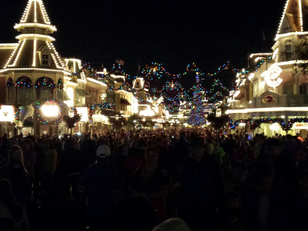 Main Street USA busy as day guests leave and party guests arrive