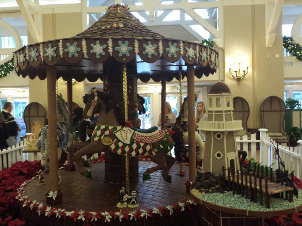 The Beach Club Lobby gingerbread display