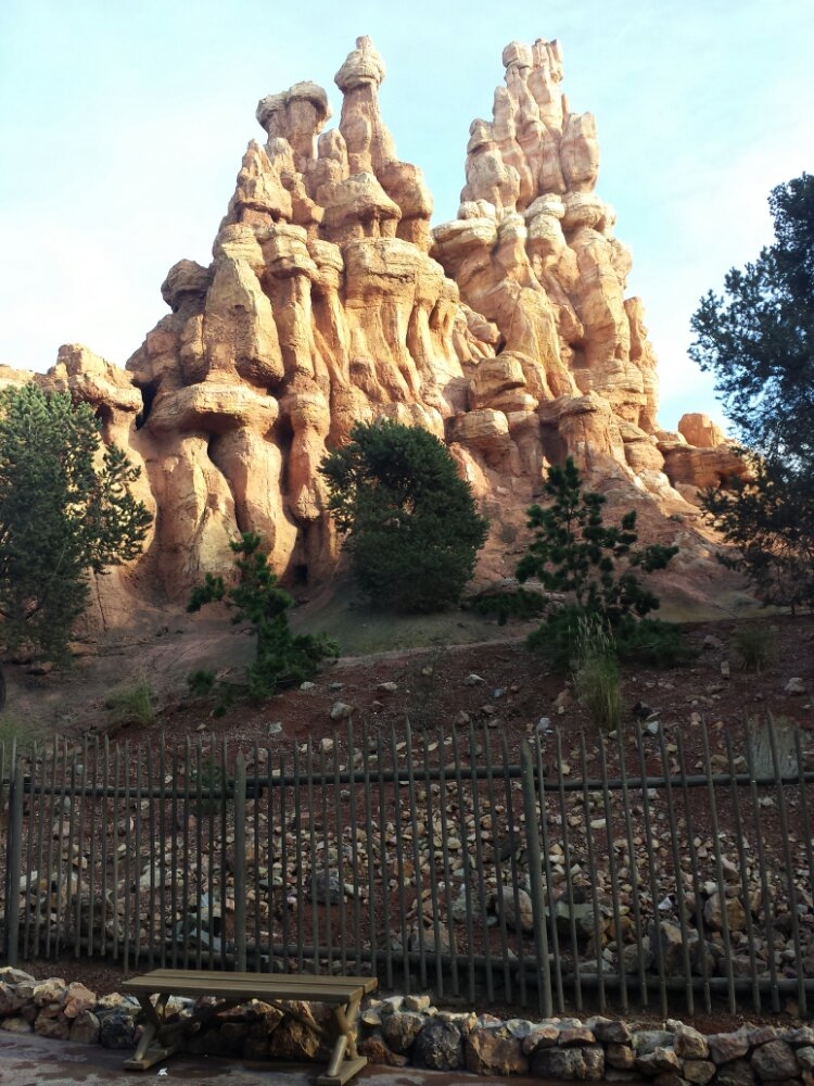 Some of the wall around Big Thunder near the smoking area has been removed giving a clear view of part of the mountain