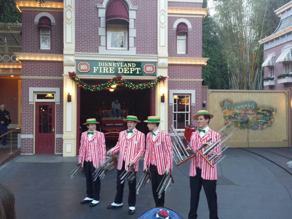 The Dapper Dans performing in front of the Fire Station in Town Square