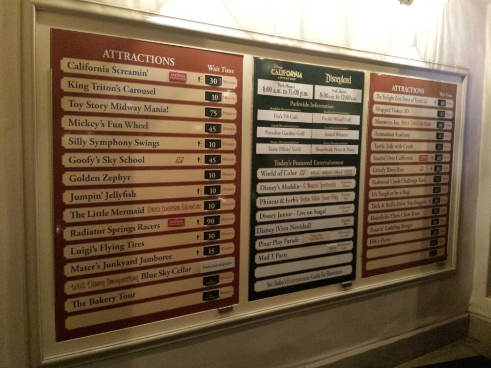 Disney California Adventure waits as of 6:00pm