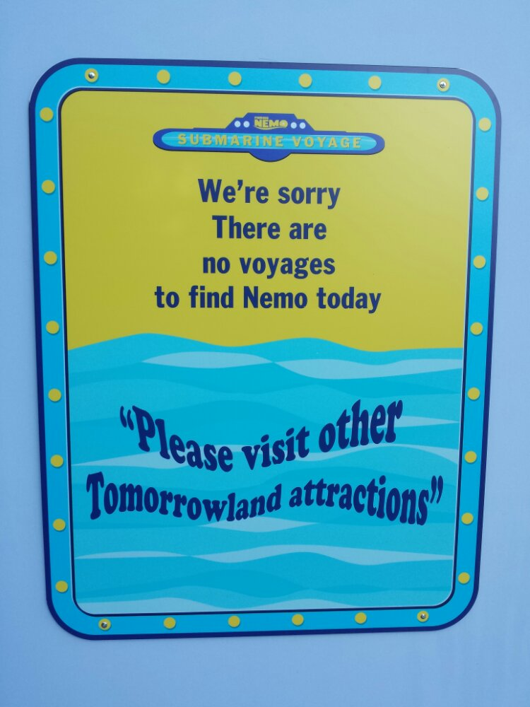 No voyages to find Nemo today, or anyday until later this year…