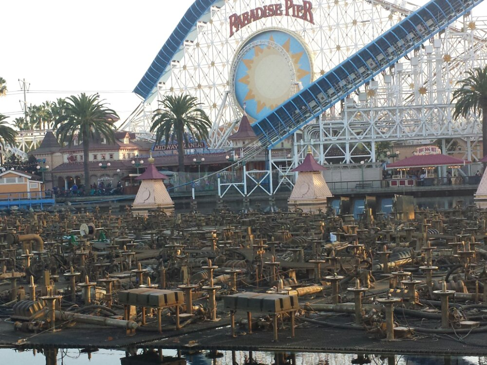 The World of Color platforms are above the waterline for renovation this week
