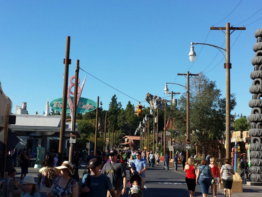 Route 66 #CarsLand the poles on the left are still up from the Christmas lights, but all other signs of the holidays appear to be put away now