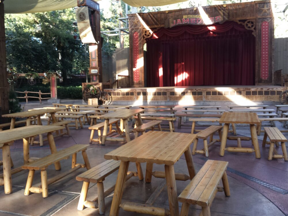 An empty seating area for the Main stage at the Big Thunder Ranch Jamboree, nothing scheduled for it this afternoon