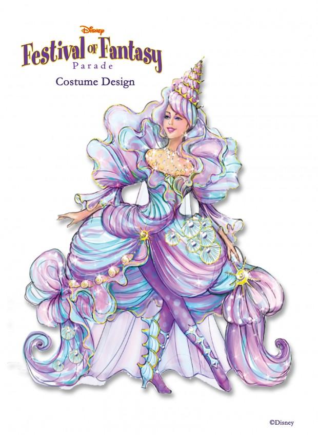 A Sneak Peek at Disney Festival of Fantasy Parade Costumes: Seashell Girl Design Sketch