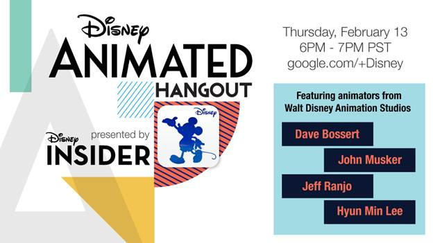 Disney animators Dave Bossert, John Musker, Jeff Ranjo, and Hyun Min Lee – Live Online 2/13 at 6pm PST