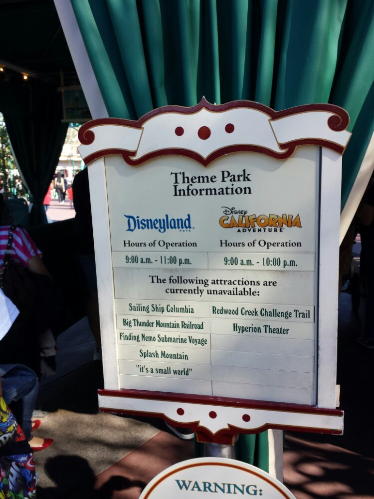 Arriving at the #Disneyland Resort, the posted attraction closure list for today