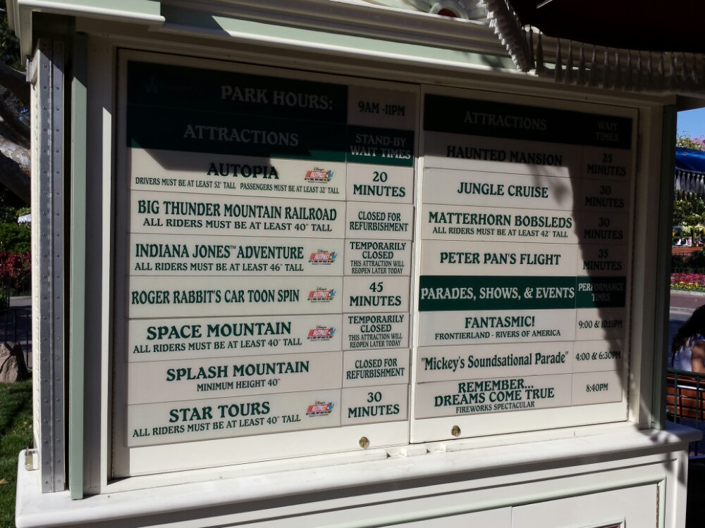 #Disneyland wait times as of 1:45pm