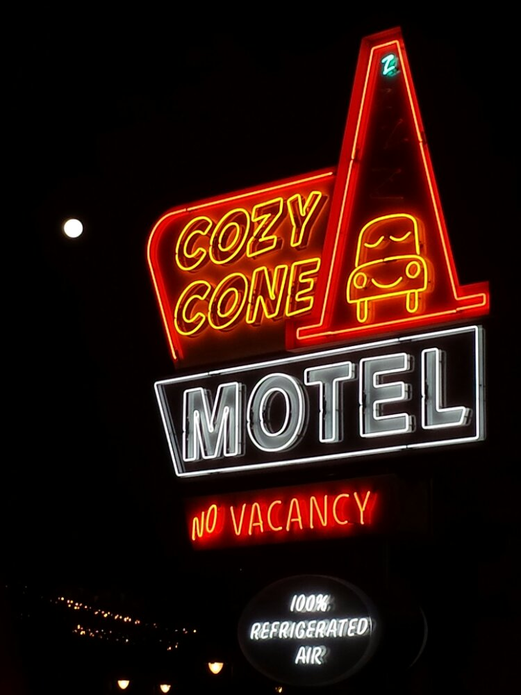 Cozy Cone neon with the full moon lingering nearby (the white dot) #CarsLand