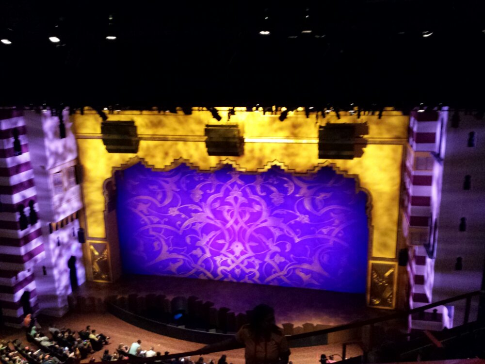At the 4:45 Aladdin show, looks to be a full house.  The view from the balcony.