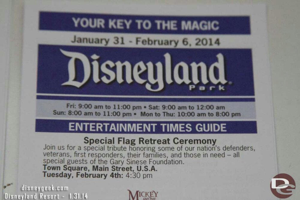 Tuesday Feb 4th #Disneyland will be hosting a special flag retreat ceremony – time guide info