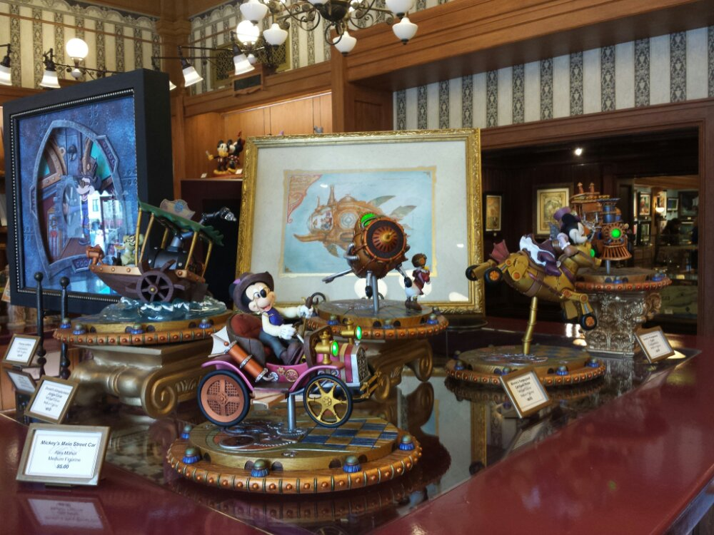Some of the Mechanical Kingdom merchandise in the Disneyana store