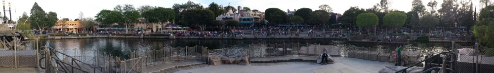 A panoramic pic from Tom Sawyer Island of New Orleans Square and Frontierland