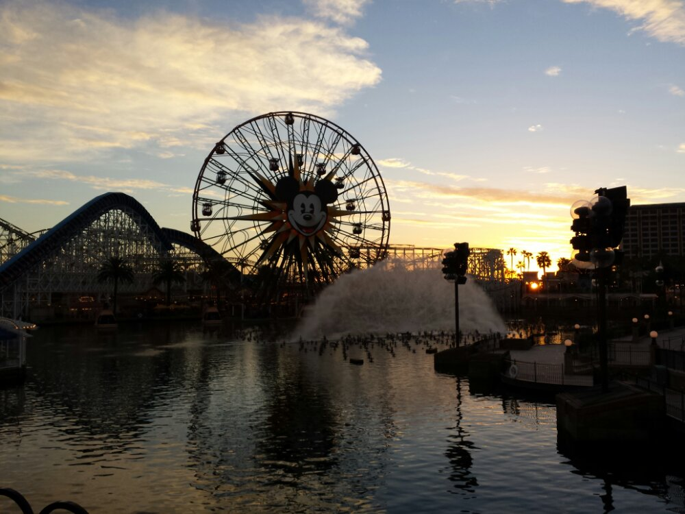 World of Color preparations going on in Paradise Bay as the sun is setting.  One show at 9:45 tonight