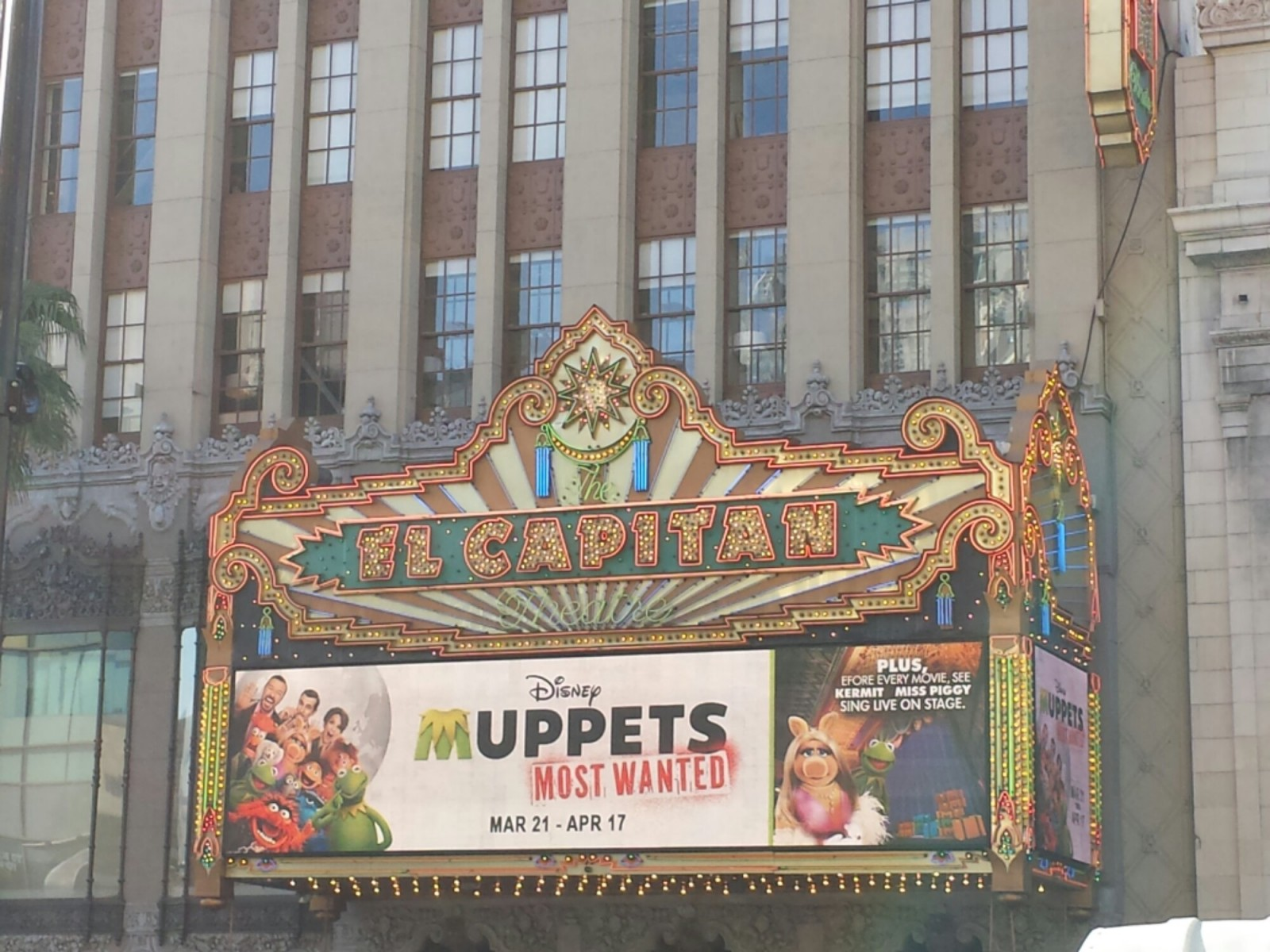 This morning in Hollywood for a #MuppetsMostWanted screening at the El Capitan