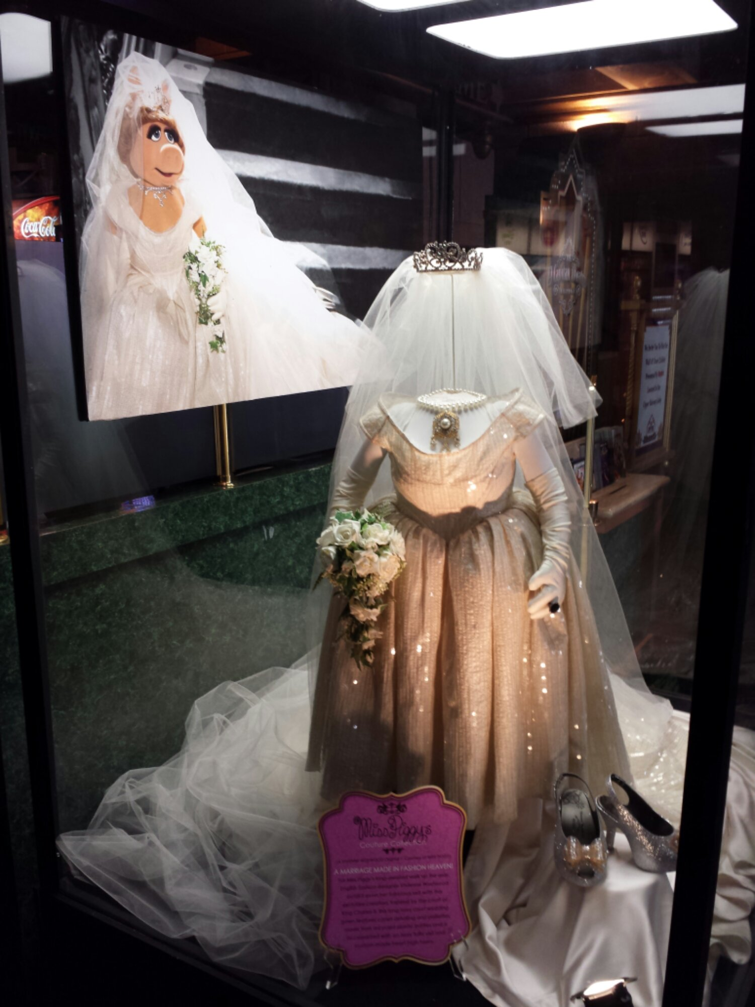 Miss Piggy's wedding gown in the El Capitan Lobby #MuppetsMostWanted
