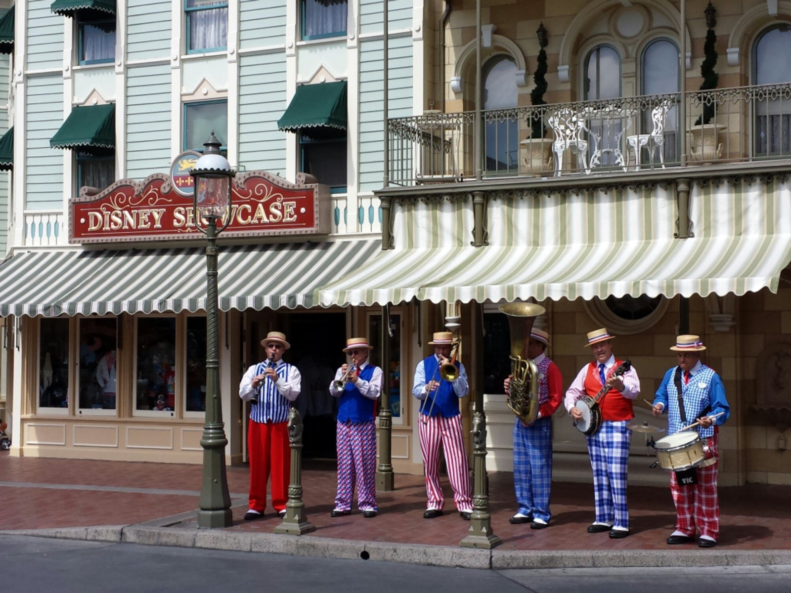 The Straw Hatters performing on Main Street USA as I entered the park