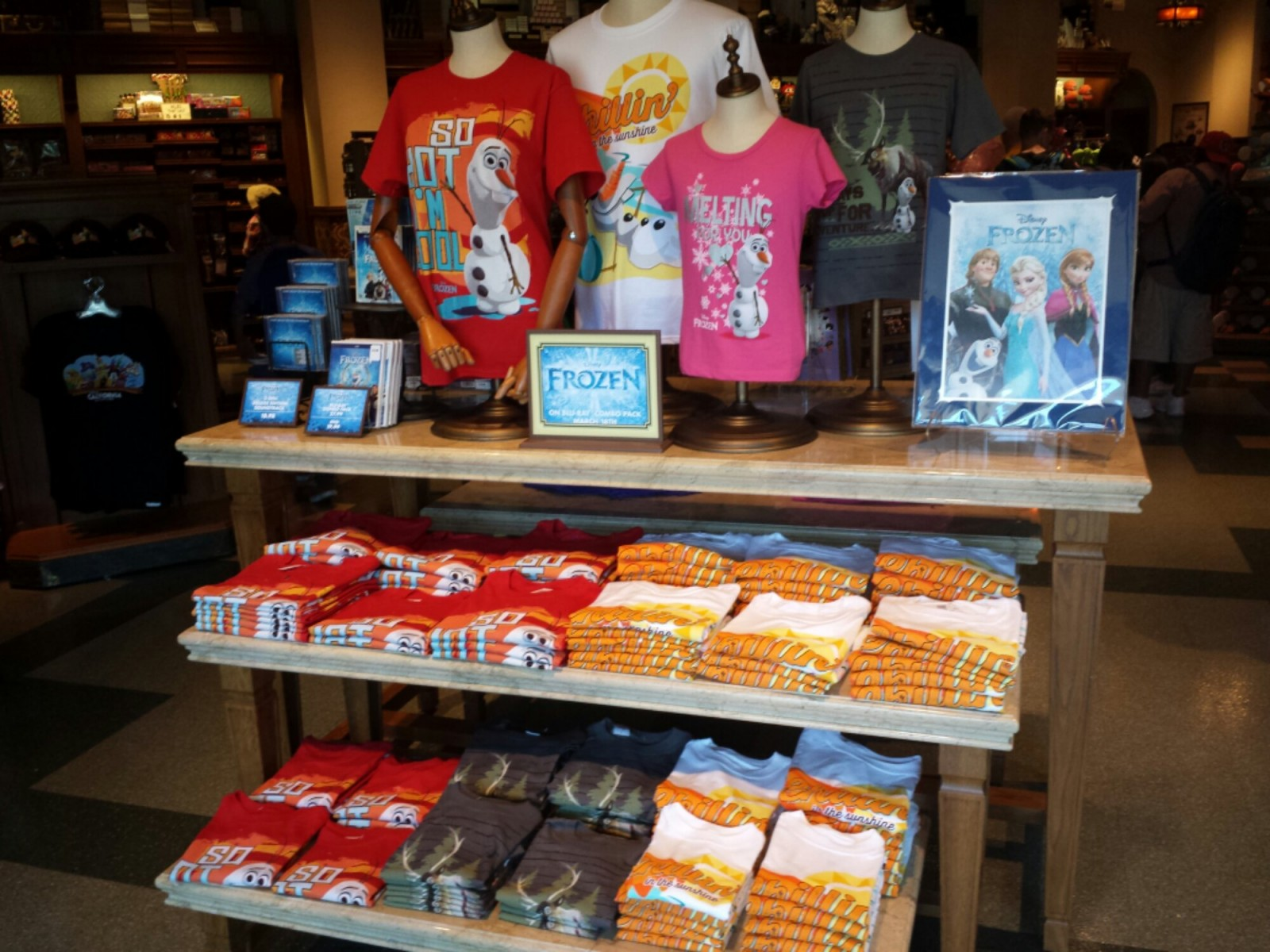 A selection of Frozen merchandise as you enter the Five and Dime on #BuenaVistaStreet