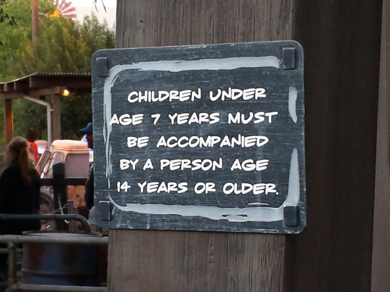 A new sign by Maters?  Stating the policy that anyone under age 7 needs to be accompanied by someone 14+
