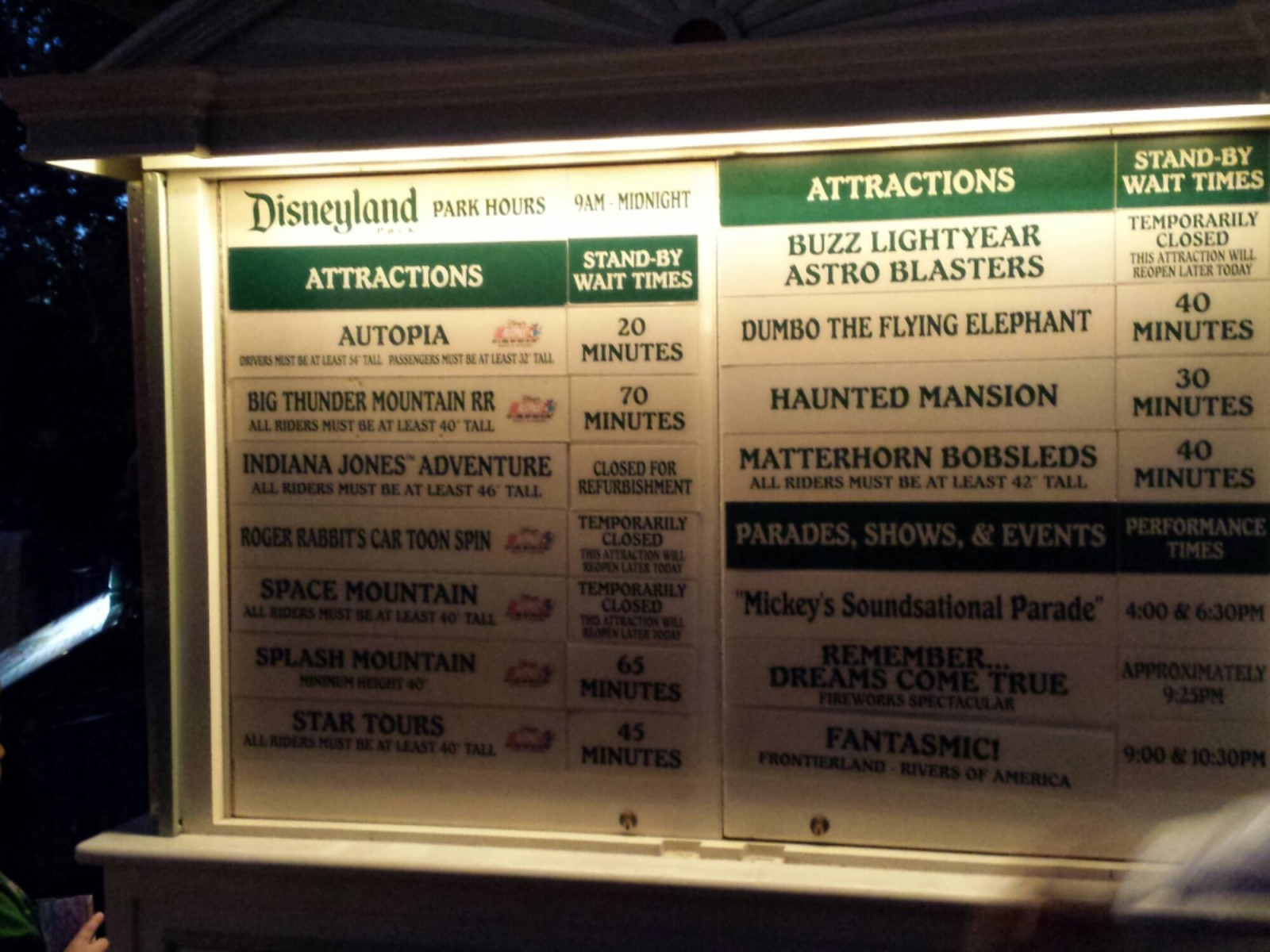 #Disneyland wait times at 7:30pm