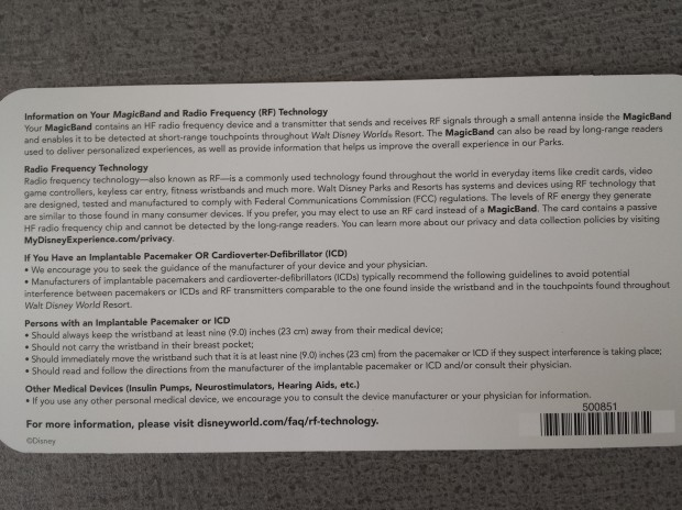 Annual Passholder MagicBand instruction card back