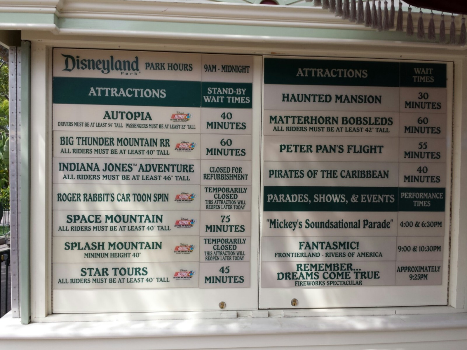 #Disneyland wait times around 1:50pm