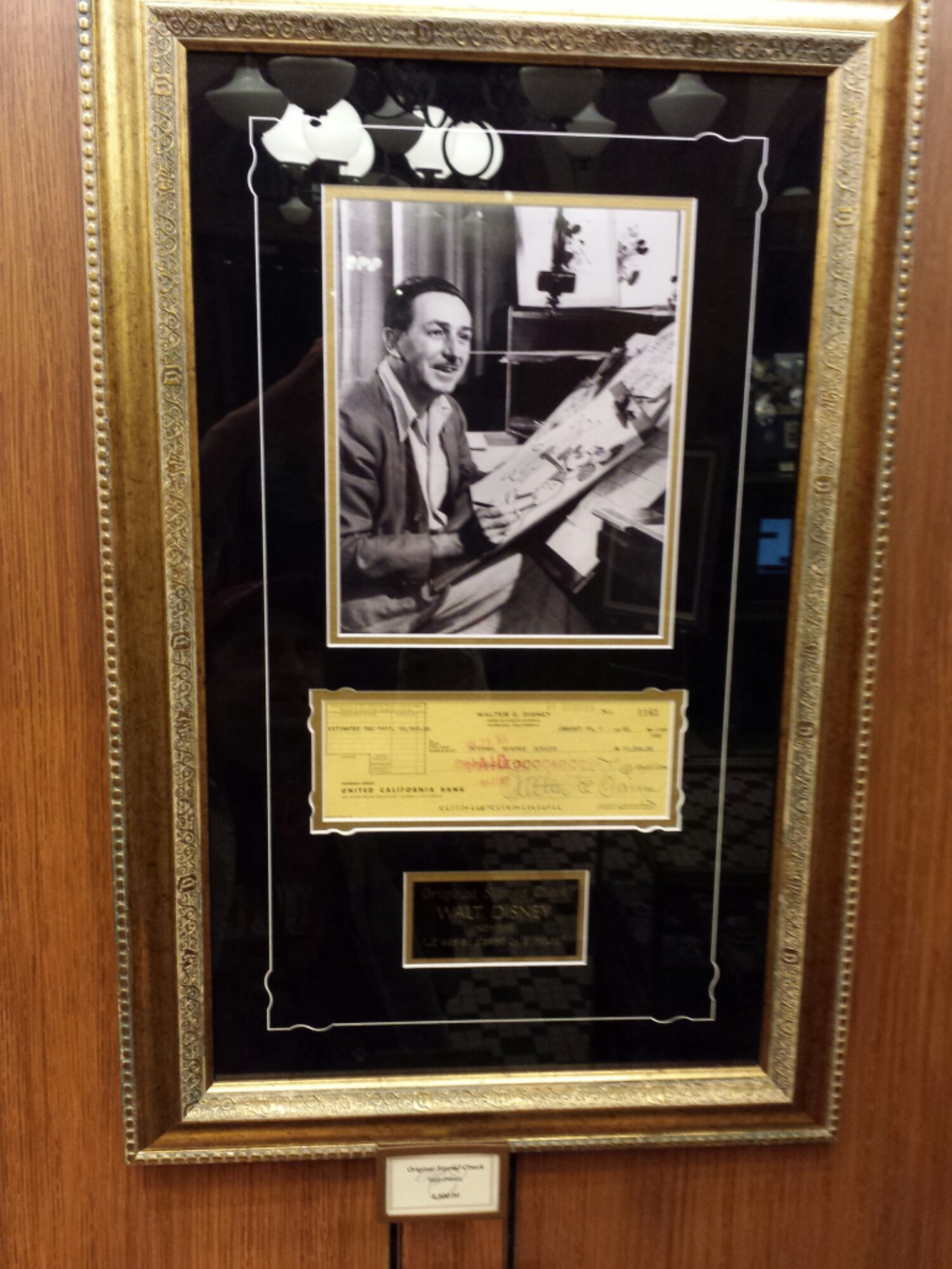 Anyone interested in an original check signed by Walt Disney?  It was for $10k of estimated taxes in 1965, today selling for $5,500 in Disneyana
