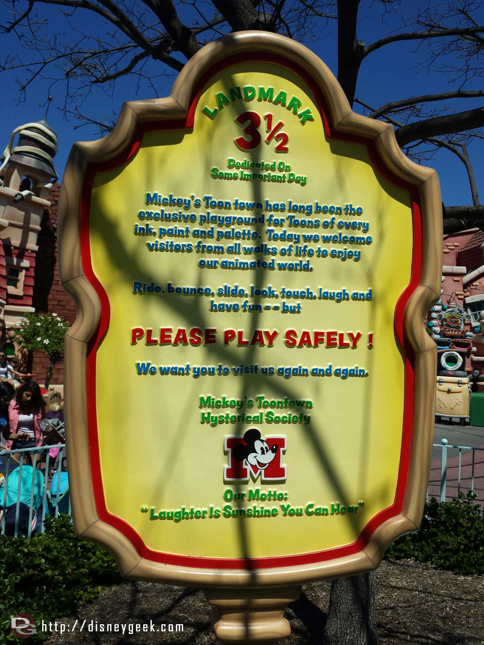 "The Toontown motto ""Laughter is sunshine you can hear"""