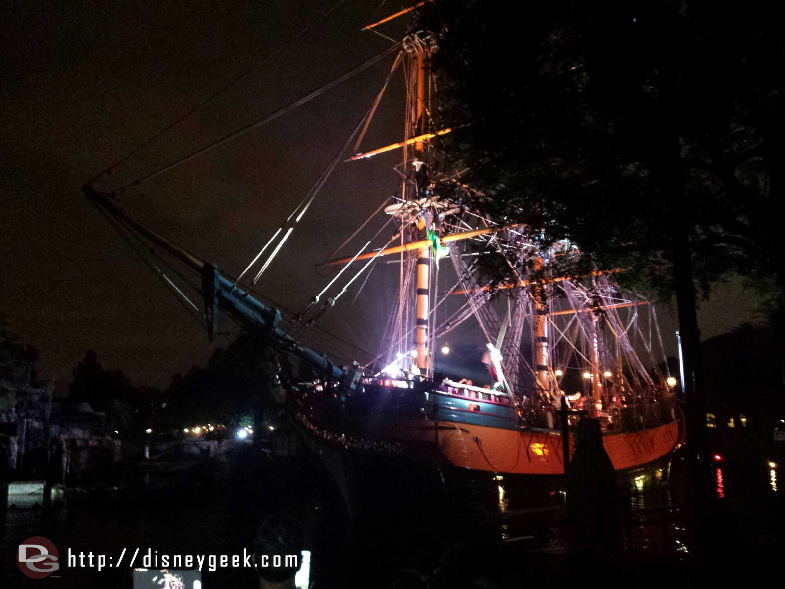 The Columbia passing by during Fantasmic!