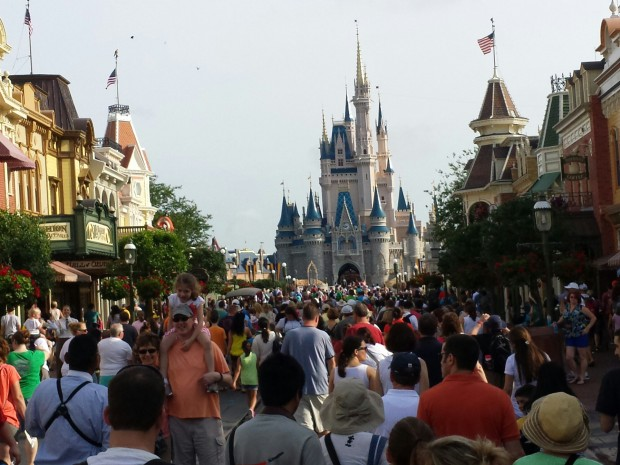 Main Street USA as the opening crowd makes its way into the park