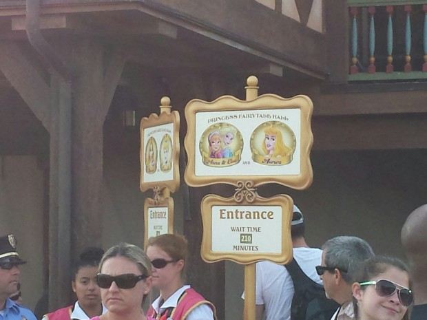 Wow.. at 9:08am the wait for the Frozen sisters was posted at 210 minutes