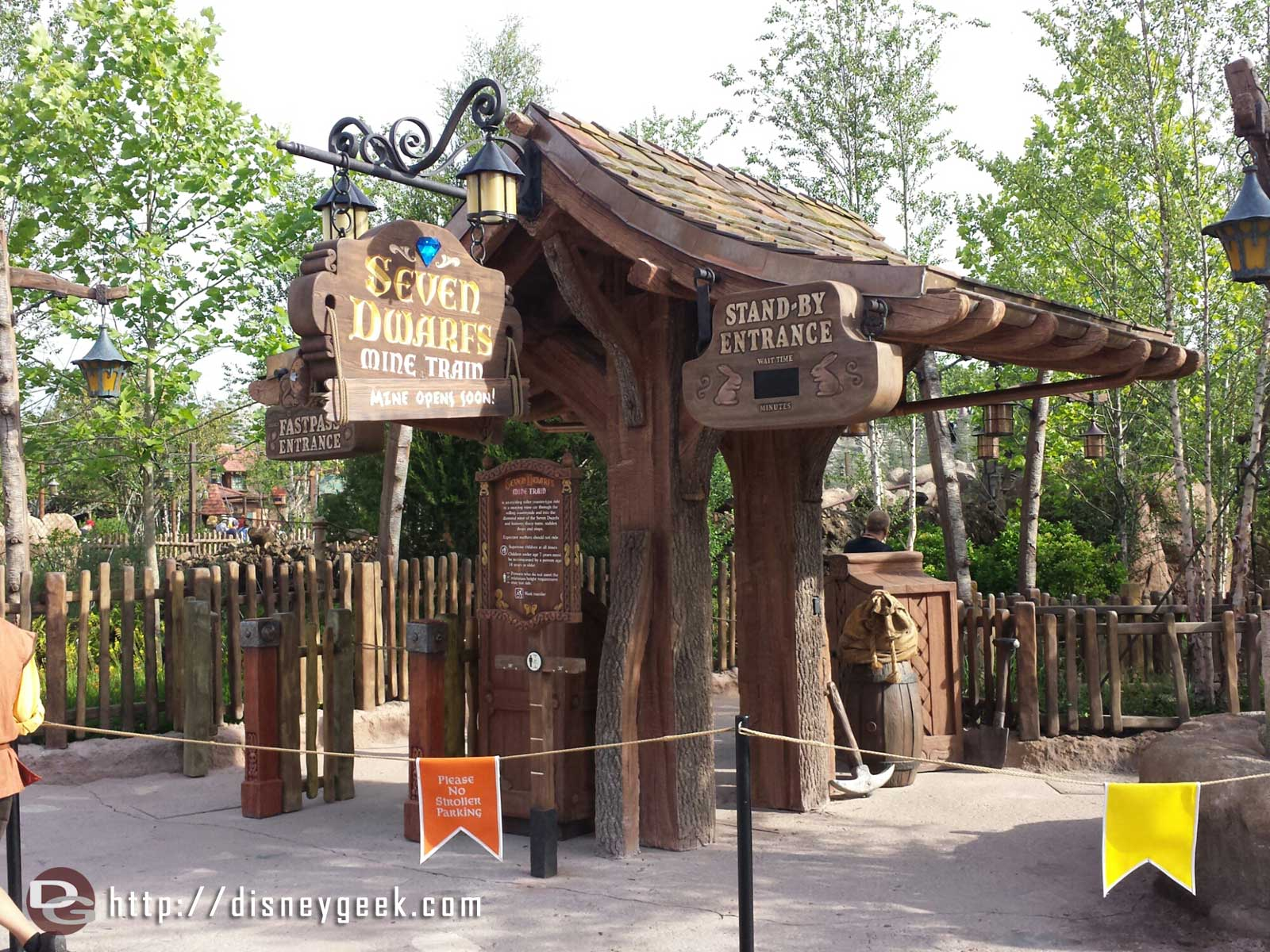 The Seven Dwarfs Mine Train looks ready to open.  The walls are down.  All quiet right now.