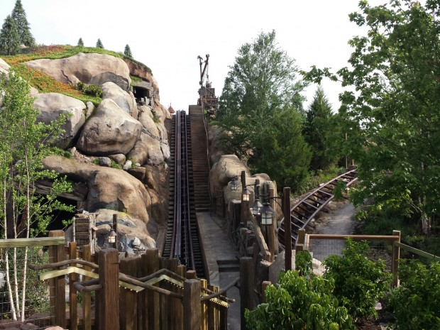 A lift hill on the Seven Dwarfs Mine Train