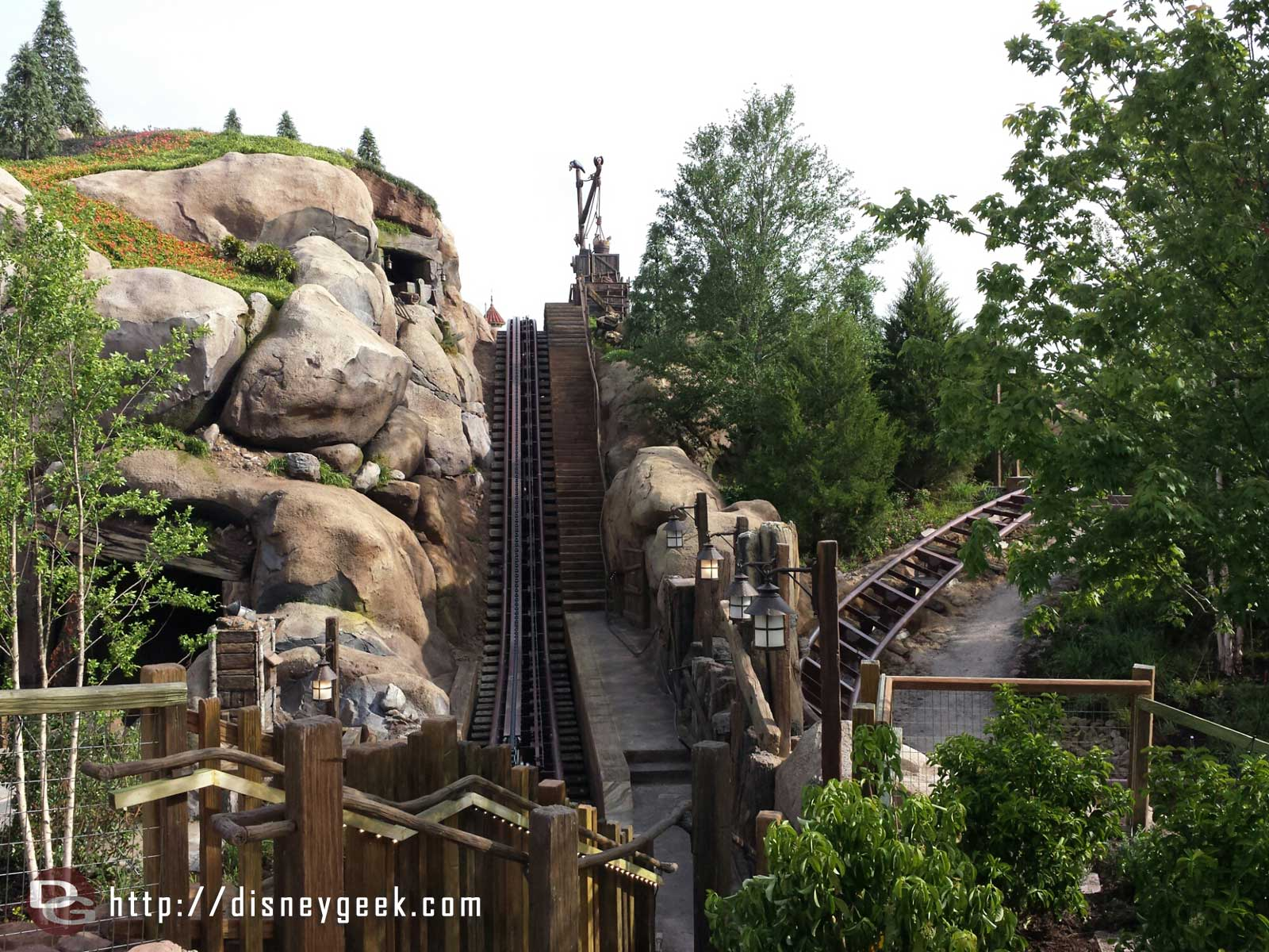 A look at one of the lift hills for the Seven Dwarfs Mine Train