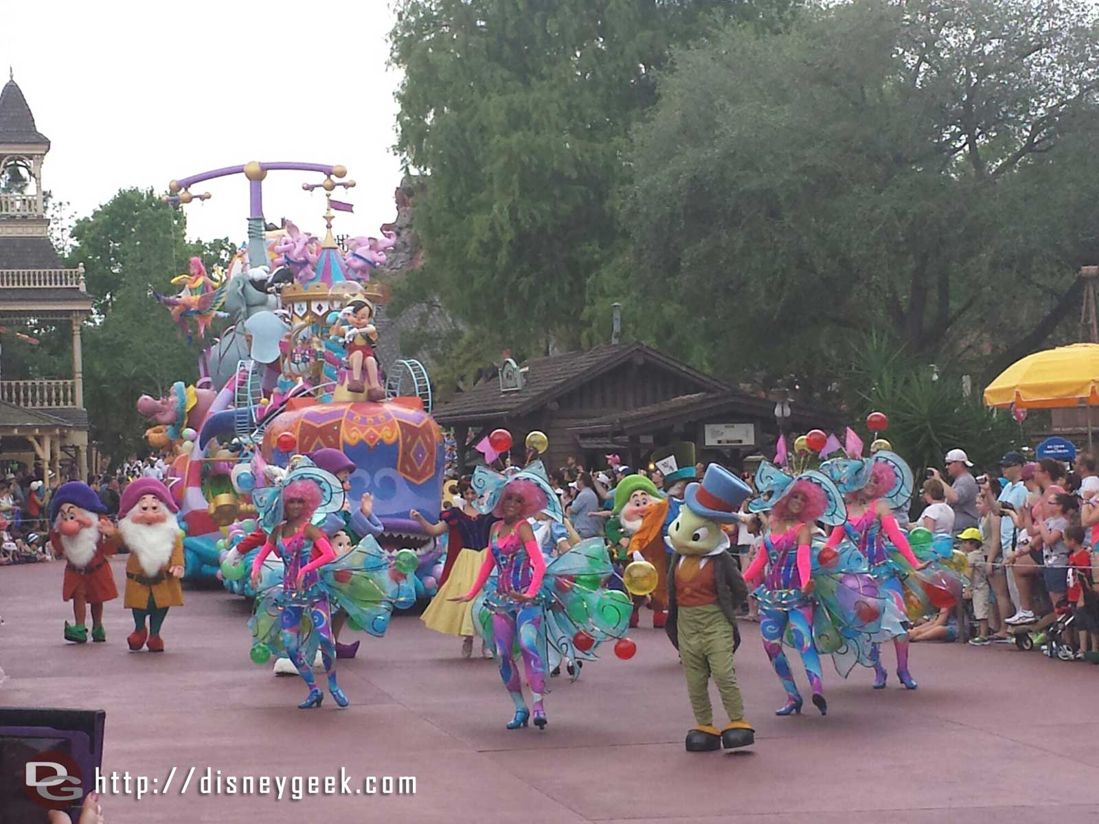 A large group of characters ahead of the finale Festival of Fantasy parade #WDW Magic Kingdom