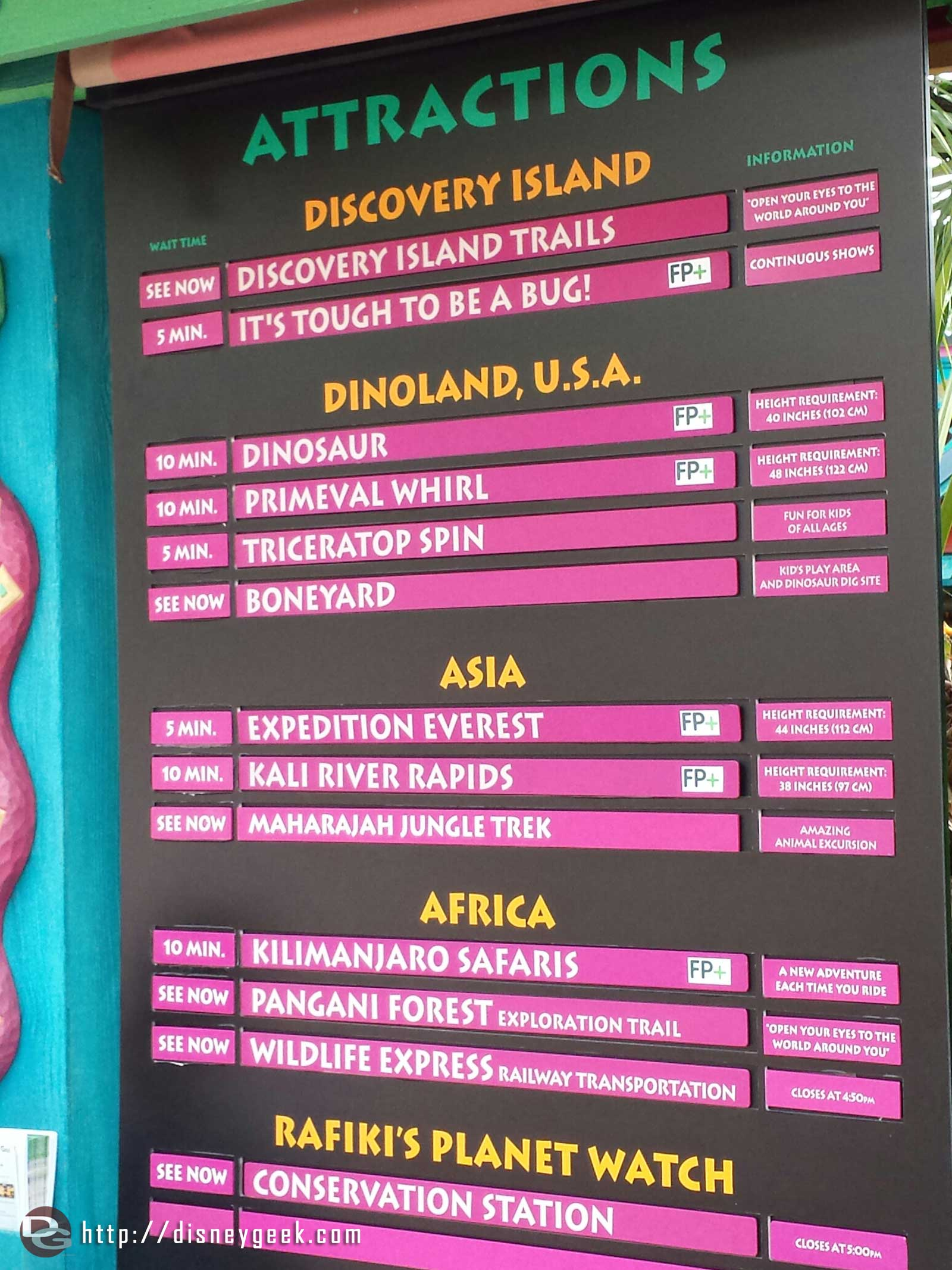 Wait times as of 10:20am – Disney's Animal Kingdom