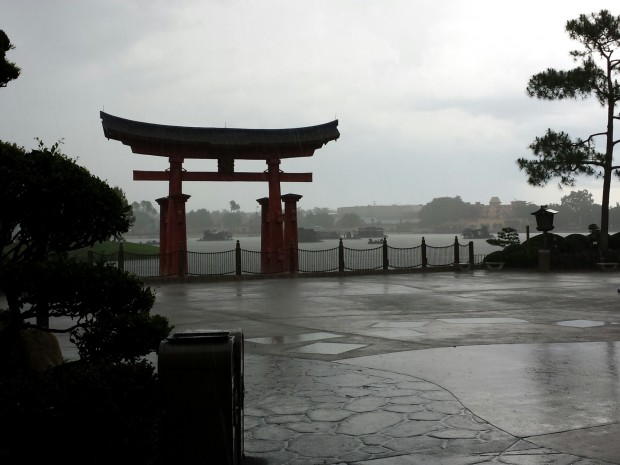 Epcot - Japan - waiting out the rain storm