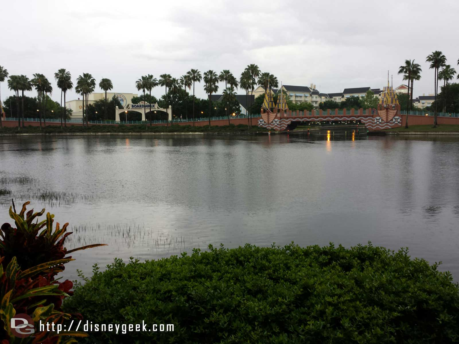 Still raining after dinner…  boats are running to Epcot, Studios are closed already.