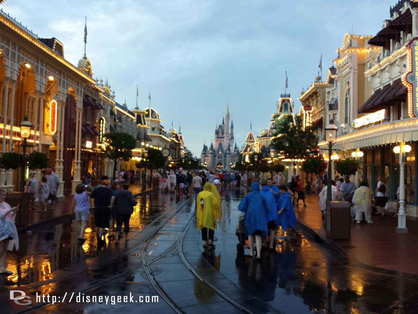 Arriving at a very wet Magic Kingdom