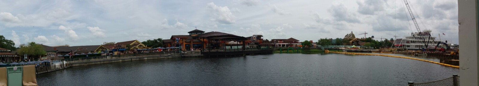 A wide shot of the Marketplace area/water front @ Downtown Disney
