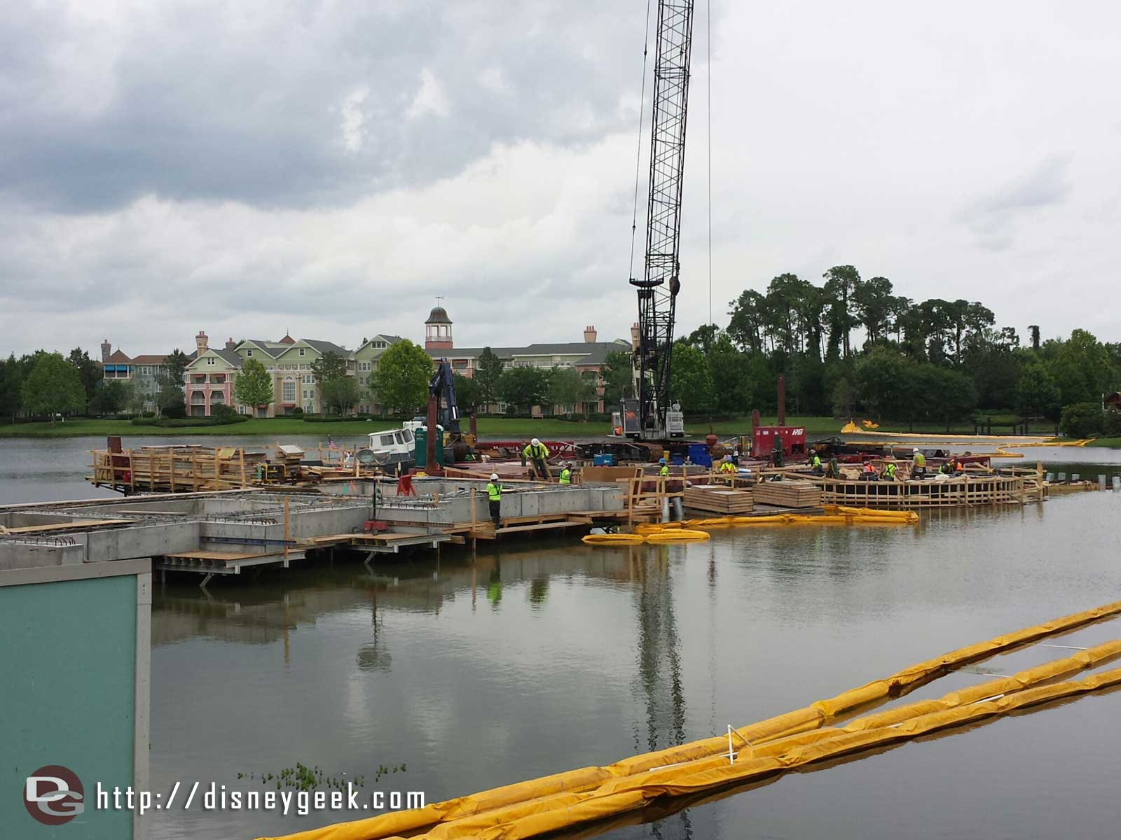 A look at the Disney Springs bridge work from near the Lego store Downtown Disney