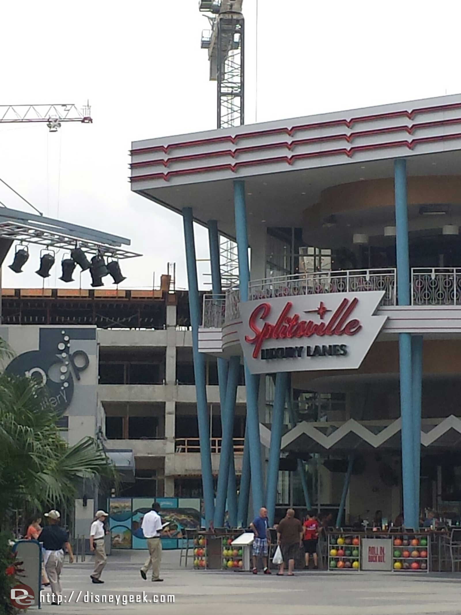 The new Disney Springs parking structure rising behind Splitsville, looks like 5th story going up.